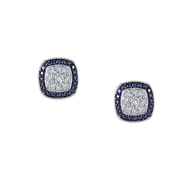 Lafonn Vintage Pave Diamond and Blue Sapphire Stud Earrings - Aatlo Jewelry Gallery