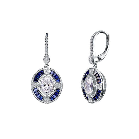 Lafonn Art Deco Inspired Diamond and Blue Sapphire Drop Earrings - Aatlo Jewelry Gallery