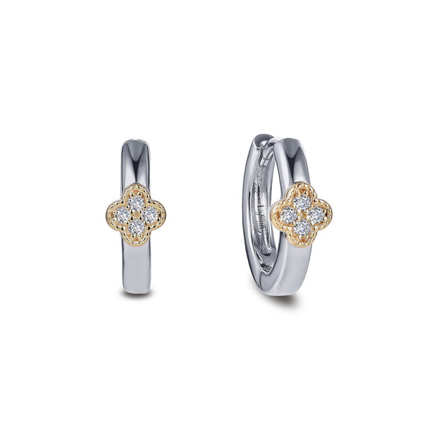 Lafonn Lassaire Diamond Dainty Station Huggie Earrings