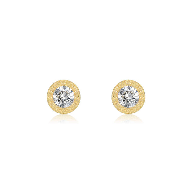Lafonn Lassaire Diamond Stud Brushed Gold Earrings