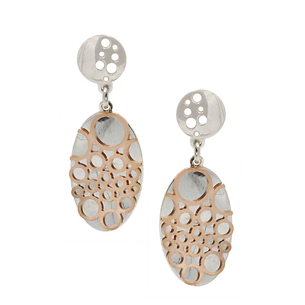 Frederic Duclos Sterling Silver and Rose Gold Poppy Earrings - Aatlo Jewelry Gallery