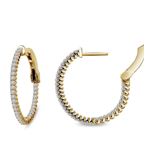 Lafonn Classic Collection Lassaire Diamond Inside Out Hoop Earrings