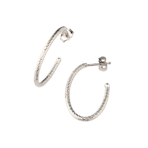 Frederic Duclos Sterling Silver Textured Oval Hoop Earrings - Aatlo Jewelry Gallery