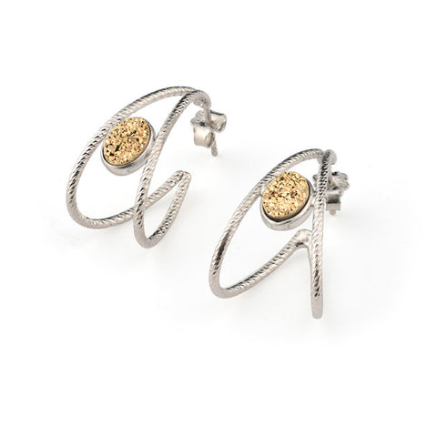 Frederic Duclos Sterling Silver Golden Druzy Hoop Earrings - Aatlo Jewelry Gallery
