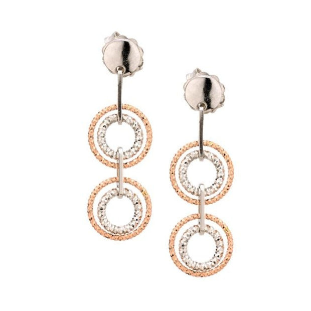 Frederic Duclos Sterling Silver and Rose Gold Circle Bar Earrings - Aatlo Jewelry Gallery
