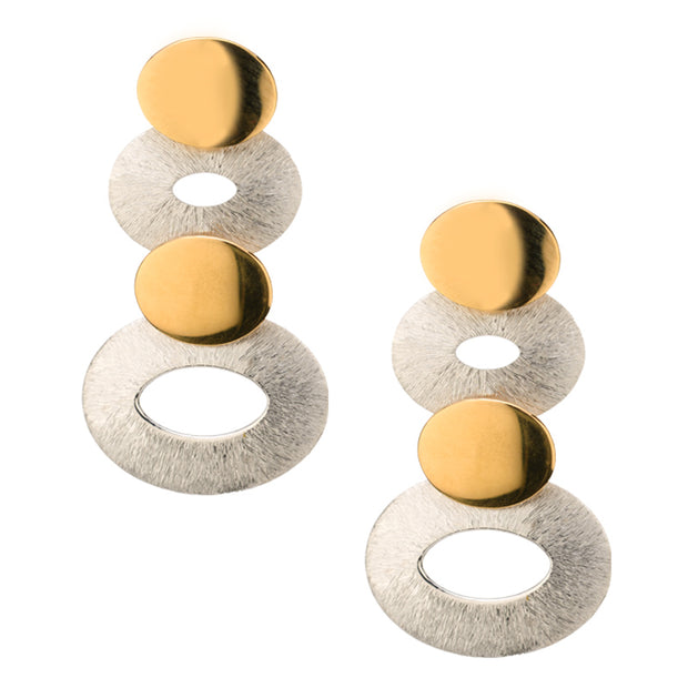 Frederic Duclos Two Tone Stack  Earrings - Aatlo Jewelry Gallery
