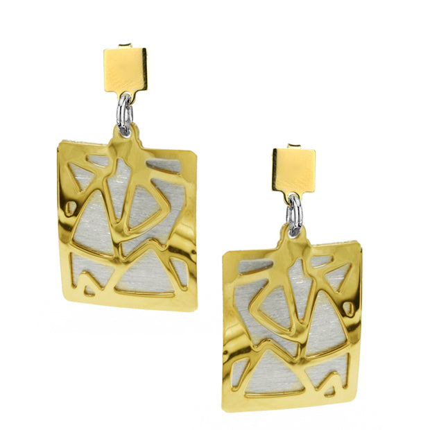 Frederic Duclos Two Tone Triangulated Earrings - Aatlo Jewelry Gallery