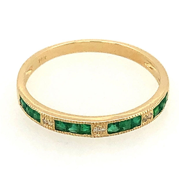 14k Emerald And Diamond Stacking Ring - New For Spring - Aatlo Jewelry Gallery