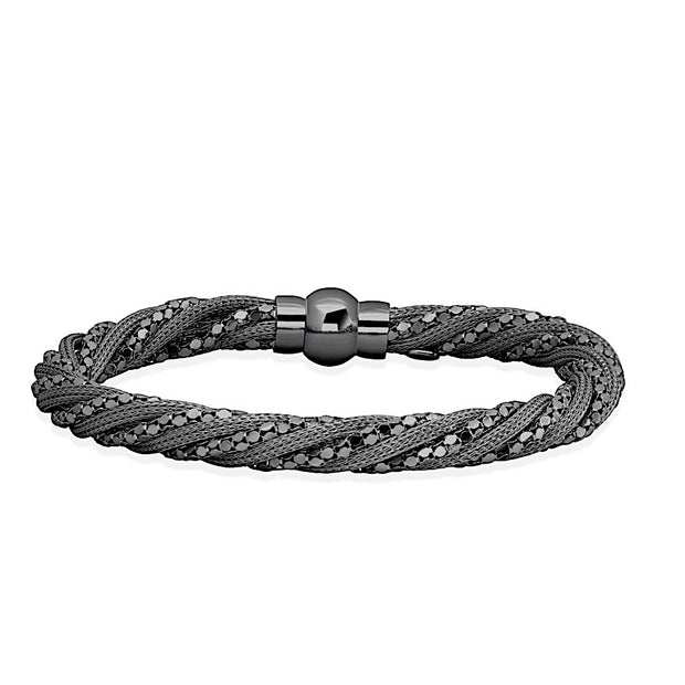 Peter Storm Twisted Black Sterling Silver with Circular Disk Chain Bracelet