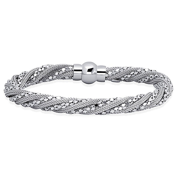 Peter Storm Twisted Silk With Sterling Silver Chain Bracelet