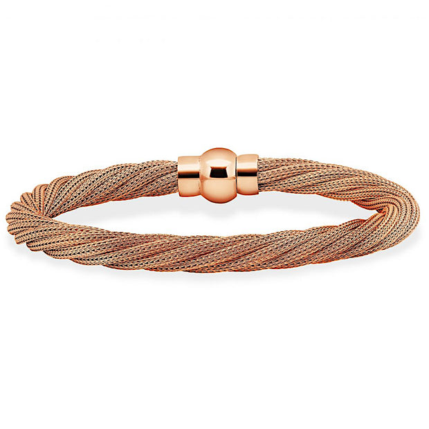 Peter Storm Twisted Rose Gold Plated Sterling Silver Multi Strand Bracelet