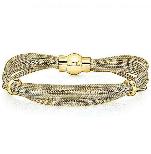 Peter Storm Twisted Yellow Gold Multi Strand Bracelet with Magnetic Clasp