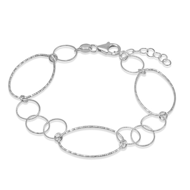 Peter Storm Sterling Silver Diamond Cut Large and Small Loop Bracelet