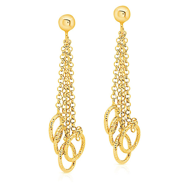 Peter Storm Yellow Gold 4 Chain Diamond Cut Loop Drop Earrings