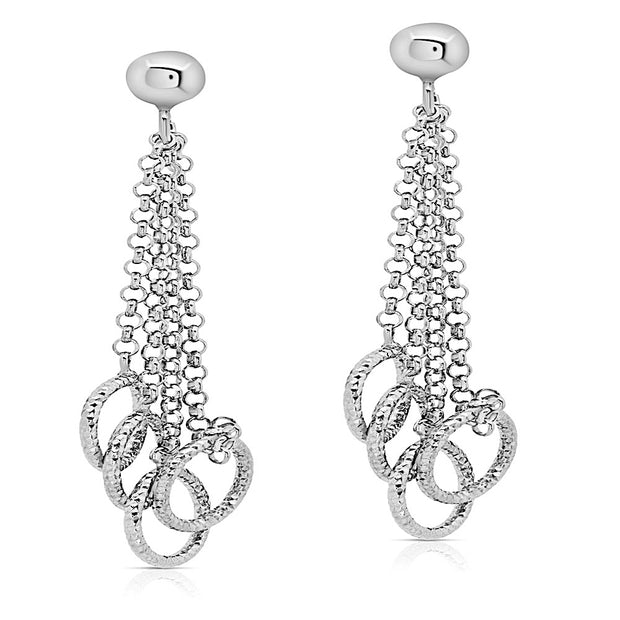 Peter Storm Sterling Silver 4 Chain Diamond Cut Loop Drop Earrings