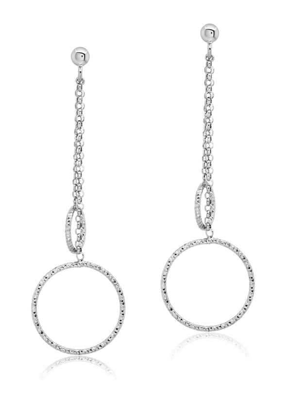 Peter Storm Sterling Silver Chain Diamond Cut Loop Drop Earrings