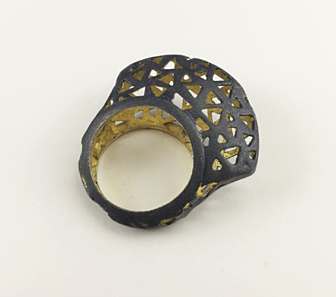 Glimpse 18k Black Oxidized And Gold Plated and Black Raised Ring - Aatlo Jewelry Gallery