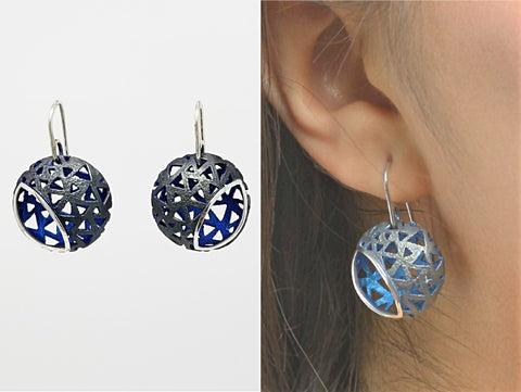 Glimpse Black And Blue Enameled Sterling Silver Earrings - Aatlo Jewelry Gallery