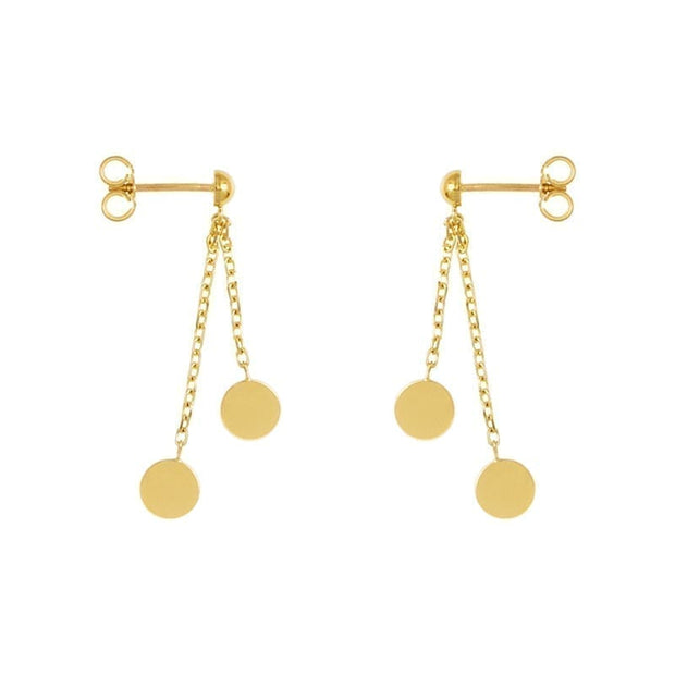 14k Yellow Gold Round Disc Drop Earrings