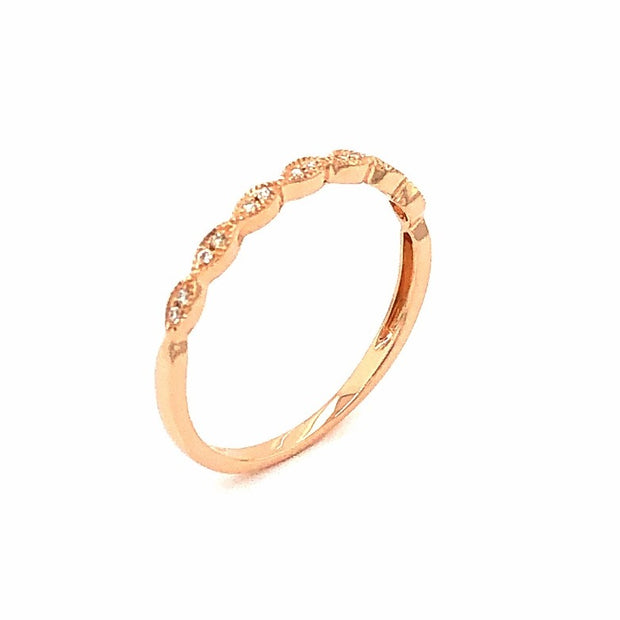 14K Rose Gold and Diamond Band Vintage Style Ring - Aatlo Jewelry Gallery
