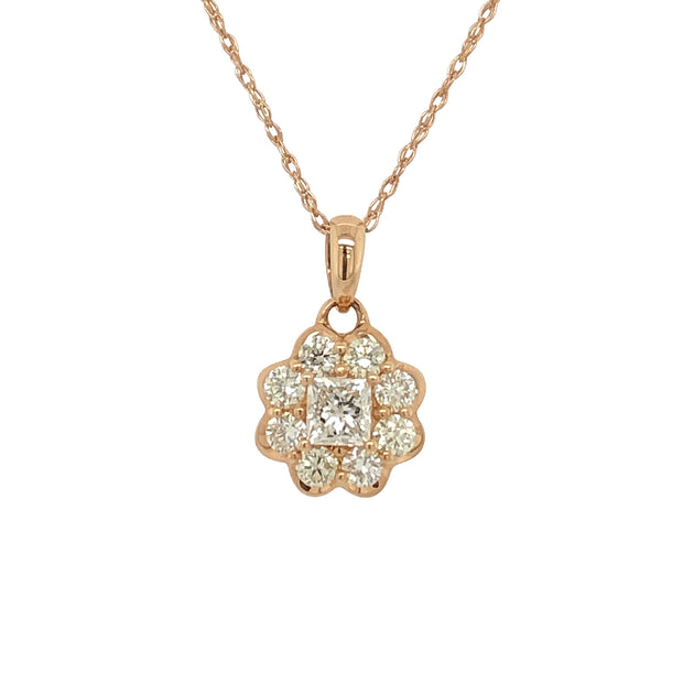 18k Rose Gold and Diamond Pendant With Rose Gold Chain - Aatlo Jewelry Gallery
