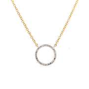 14k Delicate Diamond Circle Pendant - Aatlo Jewelry Gallery
