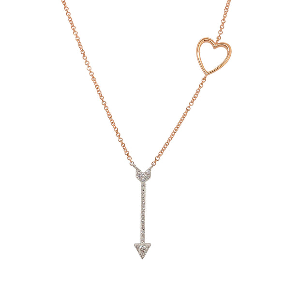Diamond Heart And Arrow 14k Rose Gold Necklace