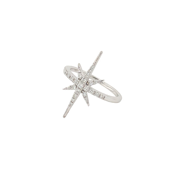 Vintage Style White Gold 6 Pointed Star Diamond Ring in 14k White Gold - Aatlo Jewelry Gallery