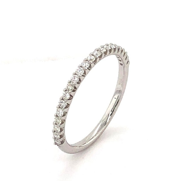 French Set Diamond RIng in 18k White Gold - Aatlo Jewelry Gallery