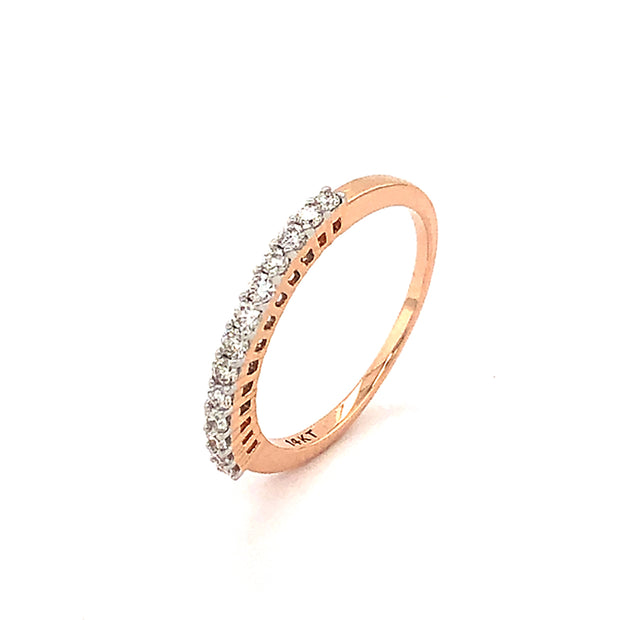 14k Rose Gold Diamond Band, .25 carats total weight of Round Full Cut Diamonds set in prongs of 14k White Gold; Excellent cuts, clarity and colorless
