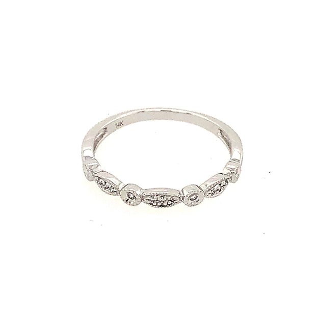 Diamond Band with three sections of pave set Diamonds and four bezel set Diamonds, .04 carats total, Fine mill grain details. Free Shipping.
