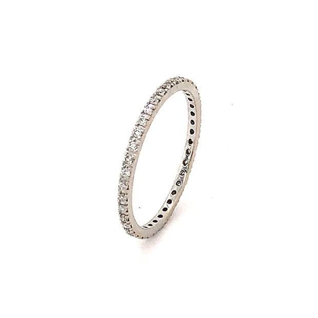 14k White Gold Skinny Diamond Eternity Band