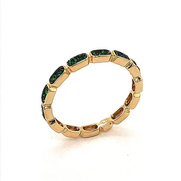 14k Yellow Gold Emerald Band