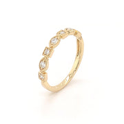 14k Yellow Gold Diamond Station Band