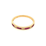 14k Princess Cut Ruby and Diamond Ring