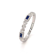 14k Square Cut Blue Sapphire And Diamond Band