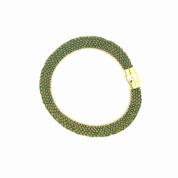Peter Storm Green SIlk with Yellow Bead Bracelet