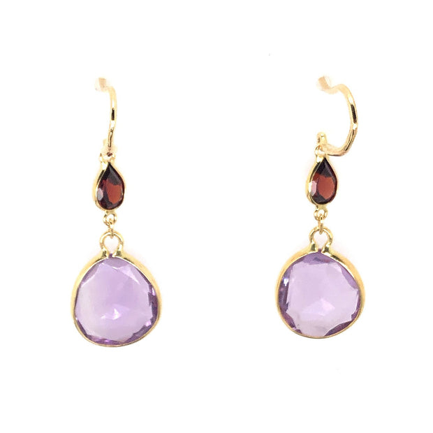18k Yellow Amethyst and Rhodolite Garnet Drop Earrings