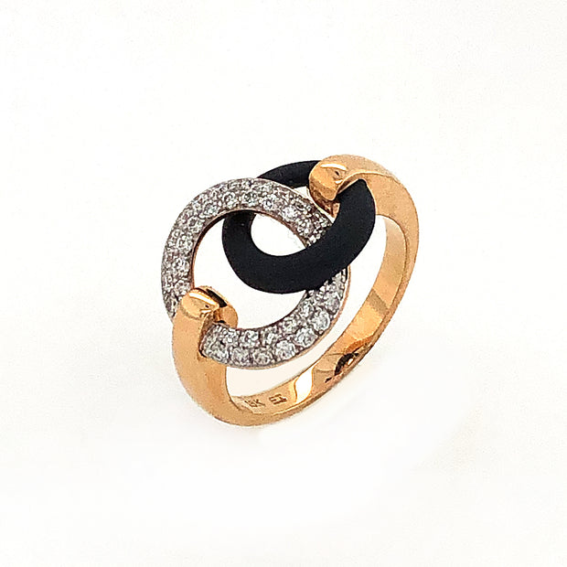 18k Yellow Gold and Diamond Circle Ring