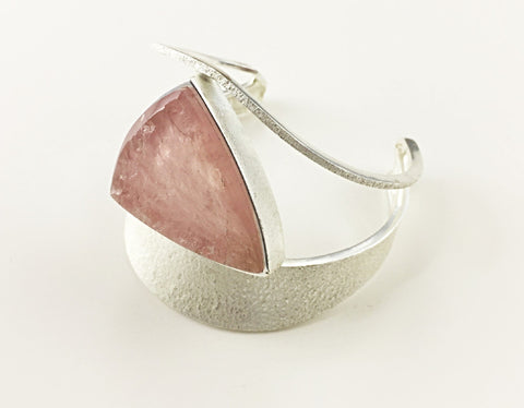 Isosceles Sterling Silver Rose Quartz Cuff - Aatlo Jewelry Gallery