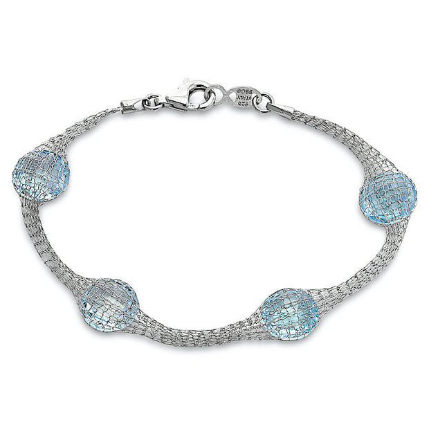 Peter Storm Sterling Silver and Faceted Sky Blue Topaz Bracelet - Aatlo Jewelry Gallery