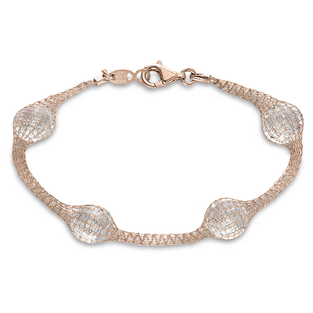 Peter Storm Rose Gold Mesh Faceted Clear Quartz Bracelet - Aatlo Jewelry Gallery