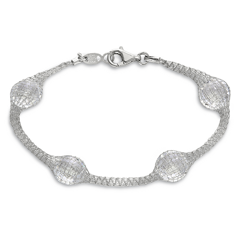 Peter Storm Sterling Silver Mesh Faceted Clear Quartz Bracelet - Aatlo Jewelry Gallery