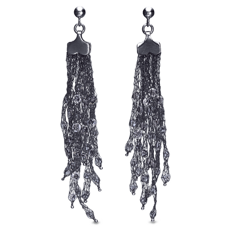 Peter Storm Black Silver and Clear Quartz Drop Earrings - Aatlo Jewelry Gallery