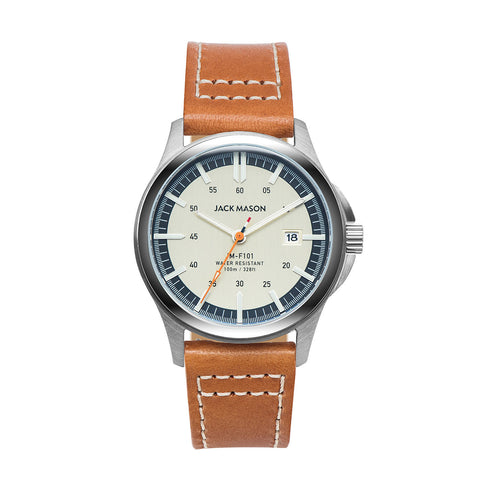 Jack Mason 42mm Field Watch with Gold And Blue Dial And Brown Leather Strap - Aatlo Jewelry Gallery