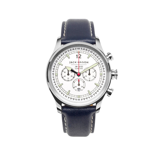 Jack Mason 42mm Nautical Chronograph Watch With White Dial And Navy Strap - Aatlo Jewelry Gallery