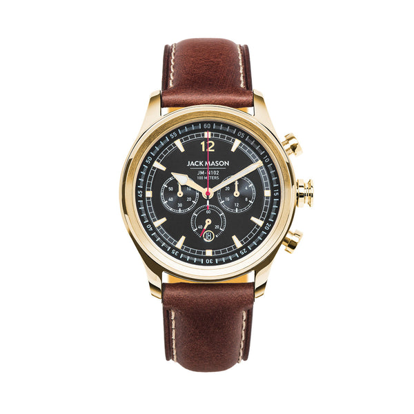 Jack Mason 42mm Nautical Chronograph Watch Rose Gold Plated With Black Dial - Aatlo Jewelry Gallery