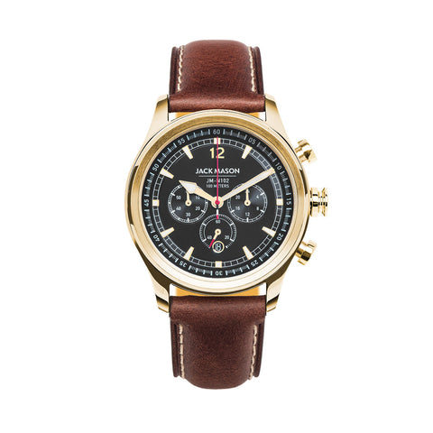 Jack Mason 42mm Nautical Chronograph Watch Yellow Gold Plated With Black Dial - Aatlo Jewelry Gallery