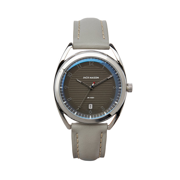 Jack Mason 36mm Slim Deck Watch With Grey Dial and Grey Leather Strap - Aatlo Jewelry Gallery