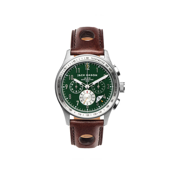 Jack Mason 42mm Racing Chronograph Green Dial & Brown Leather Strap - Aatlo Jewelry Gallery